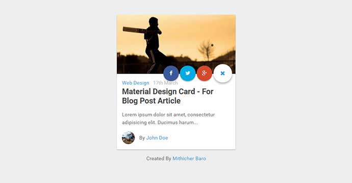 Material Design Card – For Blog Post Article